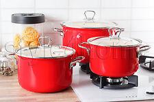HIGH QUALITY 6 pc Pot Set ENAMEL POTS Casserole Cookware Red FUSION FRESH
