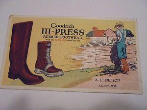 Vintage Advertising Ink Blotter Goodrich Rubber Footwear, Alden, Wis. Wisconsin