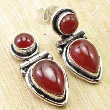 """925 Silver Plated 2 Stone Carnelian Jewellery Online Earrings 0.9"""" ONLINE STORE"""