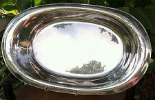 Vintage Silver Plate Oval Bread Tray with Tooled Flowers  on Both Ends