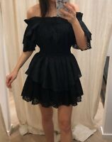 AJE Meadow Broderie Black Anglaise Mini Dress Off Shoulder RRP $395 Sz 6 AU 2US