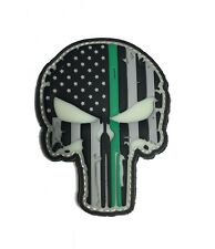 """Thin GREEN Line Punisher 2x3"""" Inch US Flag PVC Morale Patch"""