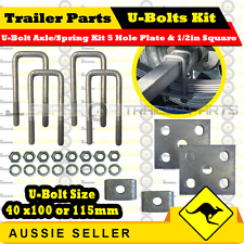 Galvanized U-Bolt Spring Kit Suits 40mm Square Axle Trailer Box, Boat, Caravan
