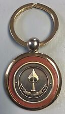 "CIA NCS National Clandestine Srv NO TEXT 1"" Emblem Gold Plated Leather Key Chain"