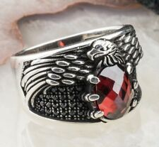 Eagle Design Ruby Stone 925 Sterling Silver Mens Ring Turkish Jewelry ALL SİZE