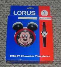 WALT DISNEY  LORUS  MICKEY MOUSE WATCH AND CLOCK SET  BOXED AND UNUSED