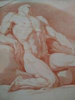 Rarissime grande gravure XVIIIème Suve & Duret sanguine homme nu académie cadre