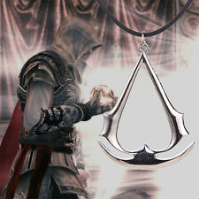 Hot Assassin's Creed Silver Pendant Necklace PU Leather Chain Jewelry Xmas gift