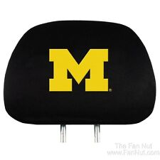 Michigan Wolverines 2-pack Black Velour Auto Head Rest Covers University of