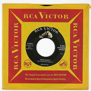 JIM REEVES Young Hearts/Two Shadows on Your Window 7IN (COUNTRY) 1957 NM-