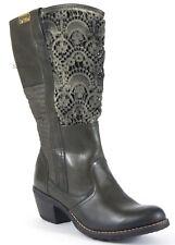 BUNKER Stiefel 38 Nappa LEDER Khaki Stiefelette Häkel Cowboy Absatz Boots NEU