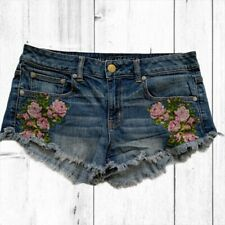 American Eagle WoMens Embroidered Rose Floral Denim Jean Short Booty Shorts 8