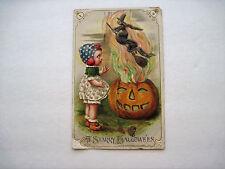 """Vintage Schmucker Halloween Postcard, Freixus Child, Winsch """"A Starry Halloween"""""""
