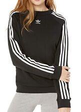 Adidas Womens Sweatshirt Black Size XXS Trefoil Embroidered Crew Neck $60- 249