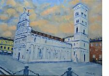 Terry George painting of church of San Michele in Foro Lucca at dusk