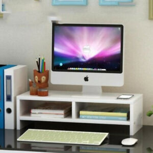 2 Tier Computer Monitor Stand Display PC/TV Screen Riser Desk Wooden Shelf