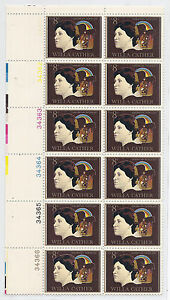 1973 US 1487 Willa Cather, Plate Block of 12 Color Registration Error Shift MNH