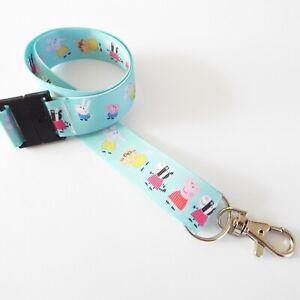 Peppa Pig - Blue - Handmade Ribbon Lanyard / Keychain / ID Holder / Gift