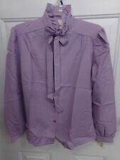 True Vintage Womens Size 12 Purple Ruffled Neck Shirt Blouse Montgomery Ward Nwt