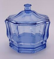 Vintage blue Indiana Glass Company Octagon Covered Candy Dish #1467