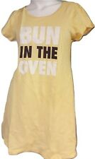 Women's Pajama Lamaze PJ Sleepshirt 100% Cotton Short Gown Yellow Bun Oven XL