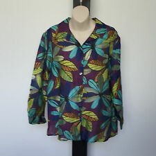 'R V' EC SIZE 'L' MULTI PRINT 3/4 SLEEVE BUTTON FRONT TEXTURED SHEER SHIRT