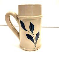 Vintage WILLIAMSBURG POTTERY Mug Stein Blue Floral Leaf Stoneware Salt Glazed