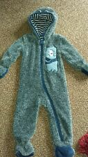 LUPILU - BOYS BLUE/GREY FURRY FULLY LINED HOODED ALLINONE SUIT - AGE 6-12 MONTHS