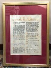 Framed Illuminated  Vellum Manuscript Ten Commandments c.1930s