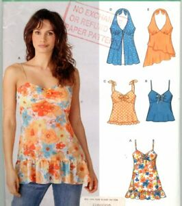 Uncut Sewing Pattern Ladies Halter Thin Strap Summer Tops Size 6-16