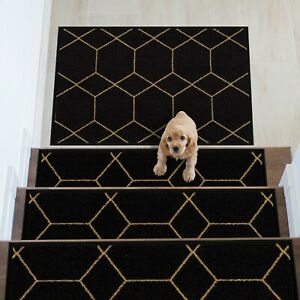 Hexagon Design Carpet Stair Treads/Mat Slip Resistant 8.5''x26.5''