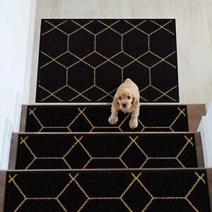 Hexagon Design Carpet Stair Treads/Mat Slip Resistant 8.5''x26.5''