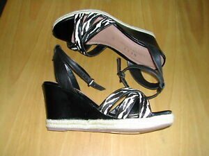 NEXT LEATHER WEDGE SANDALS -  BLACK -  ANIMAL PRINT -  SIZE 5 / 38  - NEW IN BOX