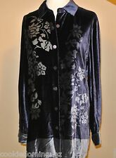 JOSEPHINE CHAUS Velvet Size 12 Purple Long Sleeve Button Front Blouse Silk Blend