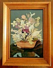 Framed Pressed Flowers Arranged on Black Velvet