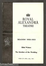 "Ethel Waters ""MEMBER OF THE WEDDING"" Julie Harris 1951 Toronto, Canada Playbill"
