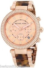 MICHAEL KORS PARKER TORTOISE SHELL+ROSE GOLD TONE+CHRONO,CRYSTAL WATCH MK5538