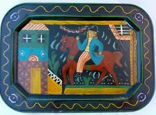 ANTIQUE Tole Tray PRIMITIVE Hand Painted Scene Man on Horse Village PAUL REVERE