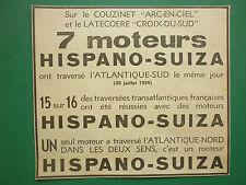 8/1934 PUB HISPANO-SUIZA LATECOERE CROIX DU SUD MERMOZ COUZINET ARC EN CIEL AD