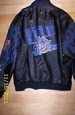 Vtg Jeff Hamilton Nascar Racing 50th anniversary Miller Lite leather jacket Lg