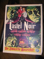 THE BLACK CASTLE NOIR BELGIAN POSTER 1952 Boris Karloff  BELGIAN POSTER