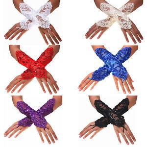 Women Lady Bride Wedding Party Fingerless Lace Satin Bridal Gloves US STOCK