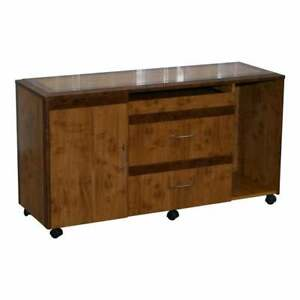 BURR WALNUT SIDEBOARD TV STAND DRAWERS DESIGNED TO HOUSE COMPUTER PART OF SUITE