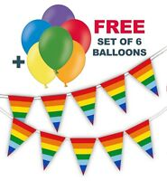 """Rainbow Triangle Flags Bunting + free pack of 6 asst 12"""" balloons Pride Month"""