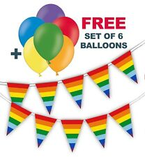 "Rainbow Triangle Flags Bunting + free pack of 6 asst 12"" balloons Pride Month"