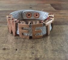 BCBG Generation Leather Strap Sweetheart Statement Bracelet