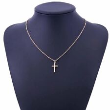 Women's Gold or Silver Plated Simple Small Tiny Cross Pendant Necklace 18""
