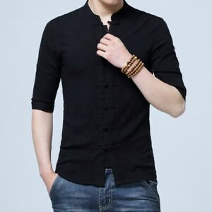 Men Half Sleeve Cotton Linen Chinese Style Shirts Kung Fu Tai Chi Suit Top CN026