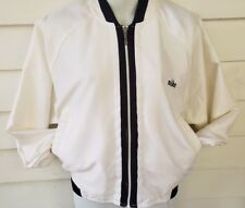 Nike Womens Medium M Jacket White Nylon Satin Shiny Silky Windbreaker Vintage