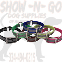 """(12) 1"""" Ring-In-Center REFLECTIVE Dayglo Hunting Dog Collars W/ Nameplate"""